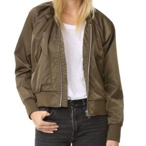 Free People bomber jacket in olive green small